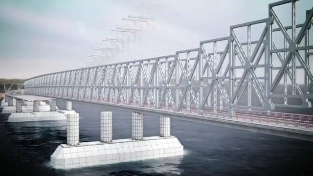 3D анимация строительства моста